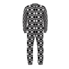 Modern Dots In Squares Mosaic Black White Onepiece Jumpsuit (kids)