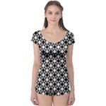 Modern Dots In Squares Mosaic Black White Boyleg Leotard