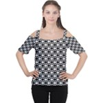 Modern Dots In Squares Mosaic Black White Women s Cutout Shoulder Tee