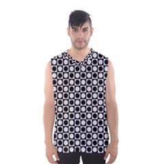 Modern Dots In Squares Mosaic Black White Men s Basketball Tank Top