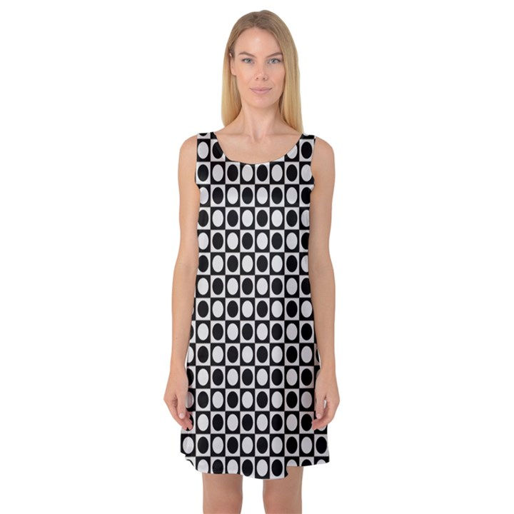 Modern Dots In Squares Mosaic Black White Sleeveless Satin Nightdress
