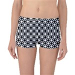 Modern Dots In Squares Mosaic Black White Boyleg Bikini Bottoms