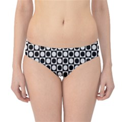 Modern Dots In Squares Mosaic Black White Hipster Bikini Bottoms