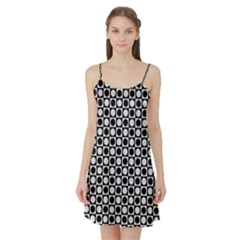 Modern Dots In Squares Mosaic Black White Satin Night Slip