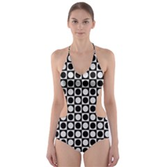 Modern Dots In Squares Mosaic Black White Cut Out One Piece Swimsuit