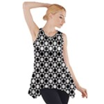 Modern Dots In Squares Mosaic Black White Side Drop Tank Tunic