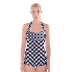 Modern Dots In Squares Mosaic Black White Boyleg Halter Swimsuit