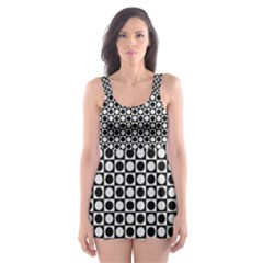 Modern Dots In Squares Mosaic Black White Skater Dress Swimsuit