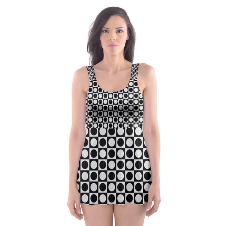 Modern Dots In Squares Mosaic Black White Skater Dress Swimsuit