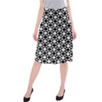 Modern Dots In Squares Mosaic Black White Midi Beach Skirt