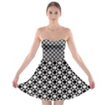 Modern Dots In Squares Mosaic Black White Strapless Bra Top Dress
