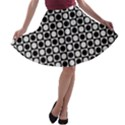 Modern Dots In Squares Mosaic Black White A-line Skater Skirt View1