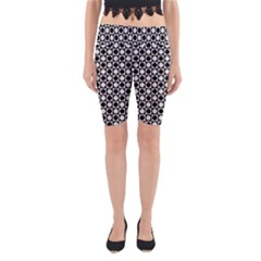 Modern Dots In Squares Mosaic Black White Yoga Cropped Leggings