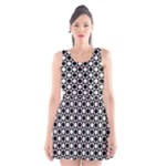 Modern Dots In Squares Mosaic Black White Scoop Neck Skater Dress