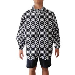 Modern Dots In Squares Mosaic Black White Wind Breaker (Kids)