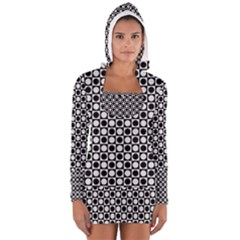 Modern Dots In Squares Mosaic Black White Women s Long Sleeve Hooded T Shirt by EDDArt