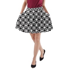 Modern Dots In Squares Mosaic Black White A-Line Pocket Skirt