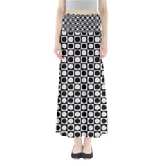 Modern Dots In Squares Mosaic Black White Maxi Skirts