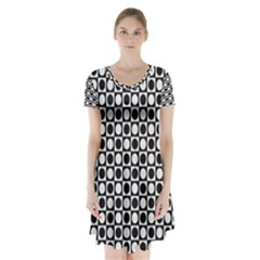 Modern Dots In Squares Mosaic Black White Short Sleeve V Neck Flare Dress by EDDArt