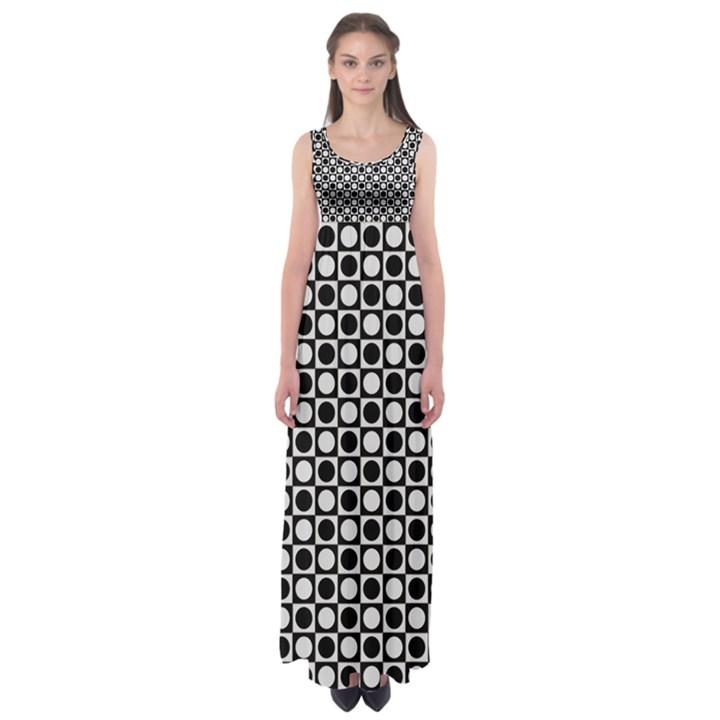 Modern Dots In Squares Mosaic Black White Empire Waist Maxi Dress