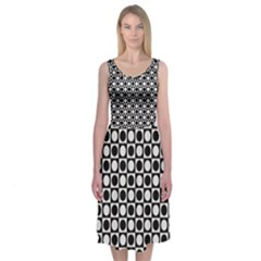 Modern Dots In Squares Mosaic Black White Midi Sleeveless Dress