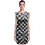 Modern Dots In Squares Mosaic Black White Classic Sleeveless Midi Dress
