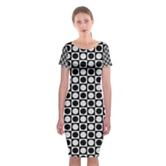 Modern Dots In Squares Mosaic Black White Classic Short Sleeve Midi Dress