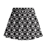 Modern Dots In Squares Mosaic Black White Mini Flare Skirt