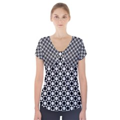 Modern Dots In Squares Mosaic Black White Short Sleeve Front Detail Top