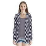 Modern Dots In Squares Mosaic Black White Drape Collar Cardigan