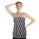 Modern Dots In Squares Mosaic Black White Strapless Top