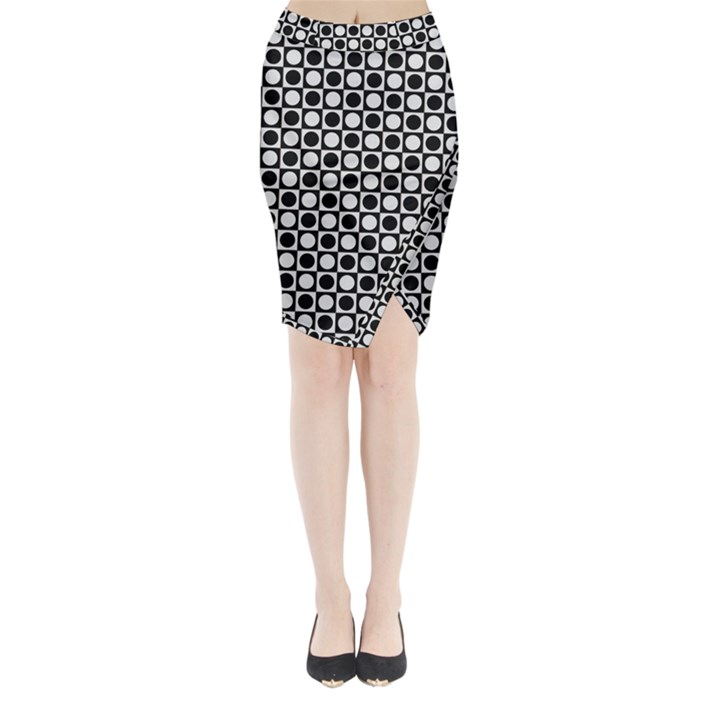 Modern Dots In Squares Mosaic Black White Midi Wrap Pencil Skirt