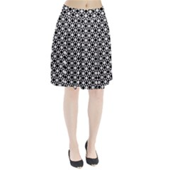 Modern Dots In Squares Mosaic Black White Pleated Skirt