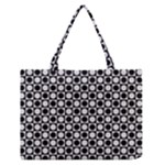 Modern Dots In Squares Mosaic Black White Medium Zipper Tote Bag