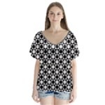 Modern Dots In Squares Mosaic Black White Flutter Sleeve Top