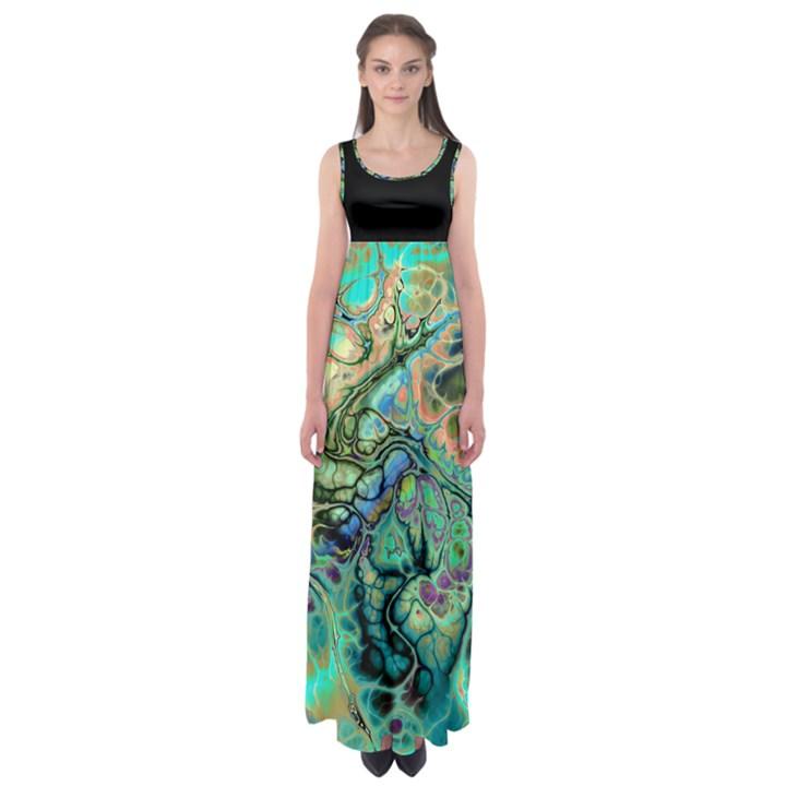 Abstract Fractal Batik ART Teal Turquoise Salmon Empire Waist Maxi Dress