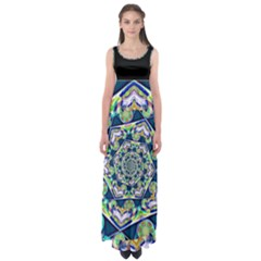 Power Spiral Polygon Blue Green White Empire Waist Maxi Dress by EDDArt