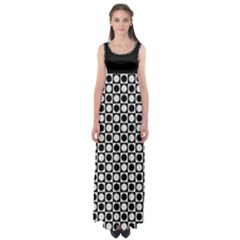 Modern Dots in Squares Mosaic Black White Empire Waist Maxi Dress