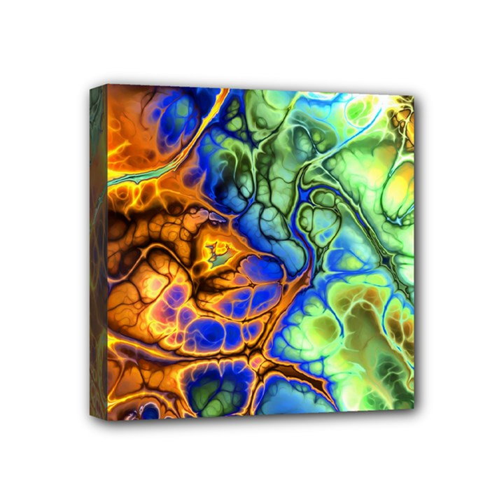 Abstract Fractal Batik Art Green Blue Brown Mini Canvas 4  x 4
