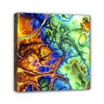 Abstract Fractal Batik Art Green Blue Brown Mini Canvas 6  x 6