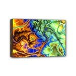 Abstract Fractal Batik Art Green Blue Brown Mini Canvas 6  x 4