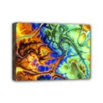 Abstract Fractal Batik Art Green Blue Brown Mini Canvas 7  x 5