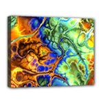 Abstract Fractal Batik Art Green Blue Brown Canvas 14  x 11