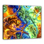 Abstract Fractal Batik Art Green Blue Brown Canvas 24  x 20