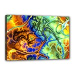 Abstract Fractal Batik Art Green Blue Brown Canvas 18  x 12