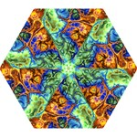 Abstract Fractal Batik Art Green Blue Brown Mini Folding Umbrellas