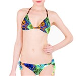 Abstract Fractal Batik Art Green Blue Brown Bikini Set