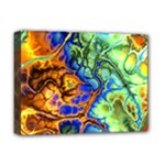 Abstract Fractal Batik Art Green Blue Brown Deluxe Canvas 16  x 12