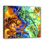 Abstract Fractal Batik Art Green Blue Brown Deluxe Canvas 24  x 20