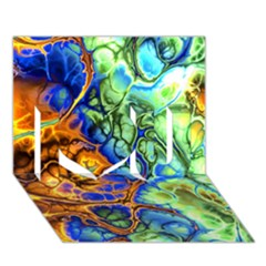 Abstract Fractal Batik Art Green Blue Brown I Love You 3d Greeting Card (7x5) by EDDArt